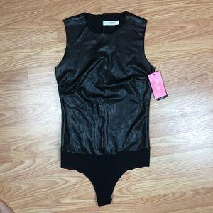 Commando Black Vegan Leather Thong Bodysuit